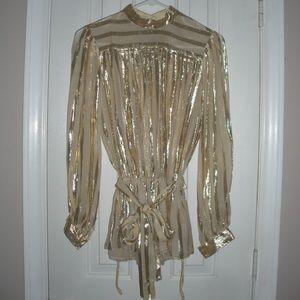 Vintage Neiman Marcus Metallic Gold Stripe Blouse